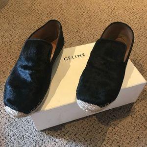 Celine black pony loafers
